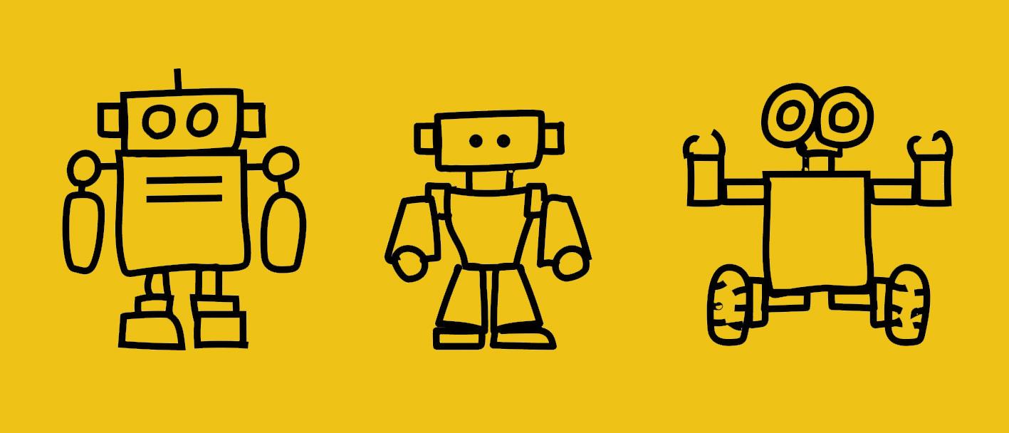 3 robots on yellow back ground